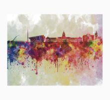 Dublin skyline in watercolor background Kids Clothes
