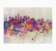 New York skyline in watercolor background Kids Clothes