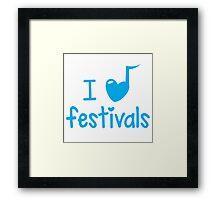 I heart (music note) FESTIVALS Framed Print