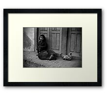 Child, Dog and Chook Framed Print