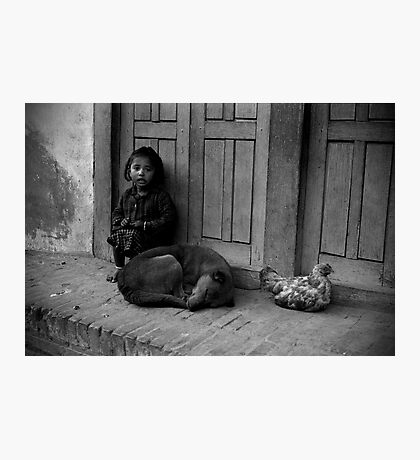 Child, Dog and Chook Photographic Print