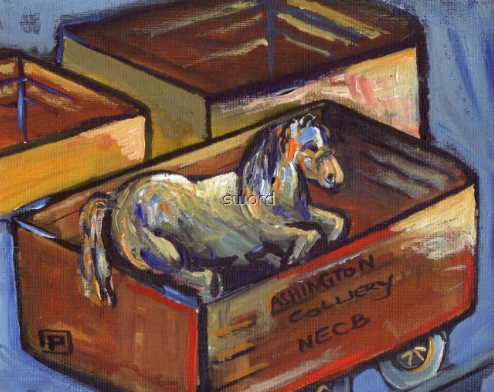 Injured pit pony (from my original acrylic painting ) by sword
