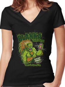 BLANKA ENERGY DRINK Women's Fitted V-Neck T-Shirt