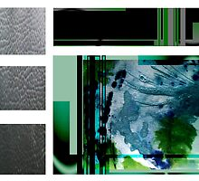 Jade contemporary minimalist abstract green black blue white square by 7RayedDesigns