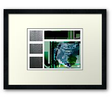 Jade contemporary minimalist abstract green black blue white square Framed Print