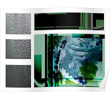 Jade contemporary minimalist abstract green black blue white square Poster