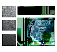Jade contemporary minimalist abstract green black blue white square Photographic Print