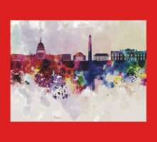 Washington DC skyline in watercolor background  Kids Clothes