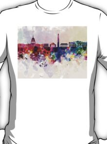 Washington DC skyline in watercolor background  T-Shirt