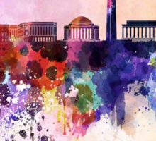 Washington DC skyline in watercolor background  Sticker