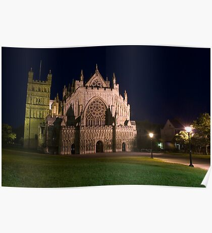 Exeter Cathedral at night Poster