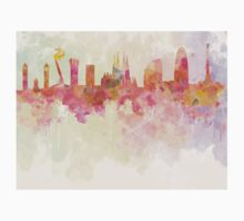 Barcelona skyline in watercolour background  Kids Clothes