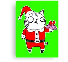 Zombie  Santa  Cat Canvas Print