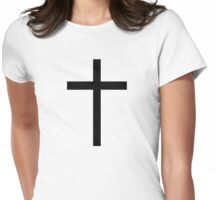 Black christian cross Womens Fitted T-Shirt