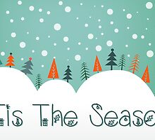 Snowy Hill Christmas Card - Tis The Season by Sol Noir Studios