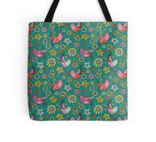 Doodle Birds Floral Pattern Tote Bag