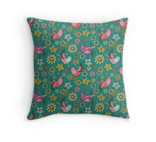Doodle Birds Floral Pattern Throw Pillow