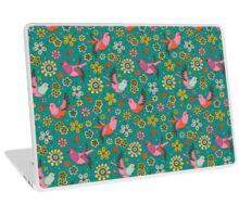 Doodle Birds Floral Pattern Laptop Skin