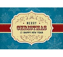 Vintage Label Christmas Card - Merry Christmas Photographic Print