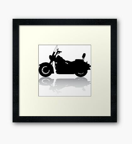 Cruiser Motorcycle Silhouette with Shadow Framed Print