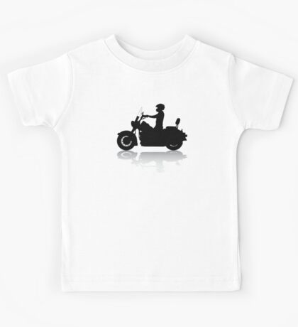 Cruiser Motorcycle Silhouette with Rider & Shadow Kids Tee