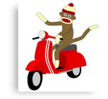 Sock Monkey Vespa Scooter Canvas Print