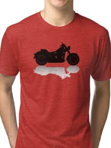 Cruiser Motorcycle Silhouette with Shadow Tri-blend T-Shirt