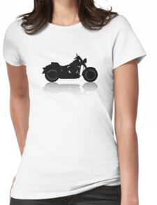 Cruiser Motorcycle Silhouette with Shadow Womens Fitted T-Shirt