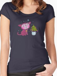 Christmas Kitties Pattern and another Spasial CAT with the Christmas tree. Women's Fitted Scoop T-Shirt