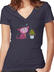 Christmas Kitties Pattern and another Spasial CAT with the Christmas tree. Women's Fitted V-Neck T-Shirt