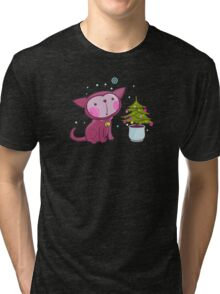 Christmas Kitties Pattern and another Spasial CAT with the Christmas tree. Tri-blend T-Shirt