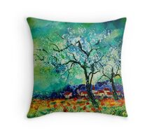 blooming appletrees Throw Pillow