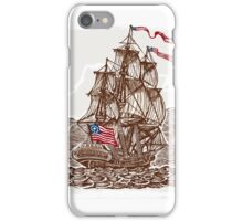 Vintage Page with American Vessel on Seas iPhone Case/Skin