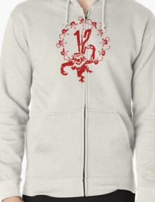 12 Monkeys - Terry Gilliam - Red on White Zipped Hoodie