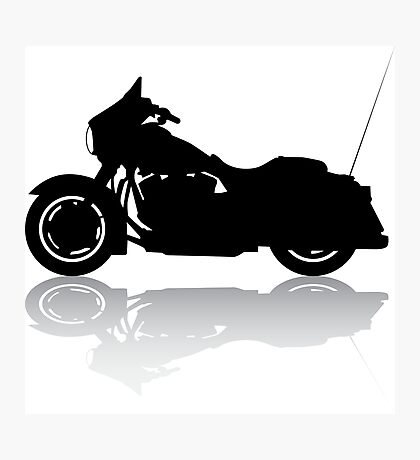 Cruiser Motorcycle Silhouette with Shadow Photographic Print