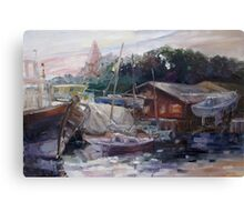 Off-Hours At The Ship Yard In Kirchdorf, Island Poel Canvas Print