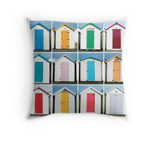 Beach Huts - Torquay, England Throw Pillow