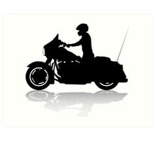 Cruiser Motorcycle Silhouette with Rider & Shadow Art Print