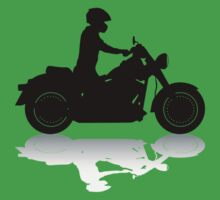 Cruiser Motorcycle Silhouette with Rider & Shadow One Piece - Short Sleeve