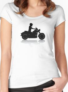 Cruiser Motorcycle Silhouette with Rider & Shadow Women's Fitted Scoop T-Shirt