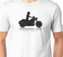 Cruiser Motorcycle Silhouette with Rider & Shadow Unisex T-Shirt