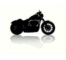 Cruiser Motorcycle Silhouette with Shadow Art Print
