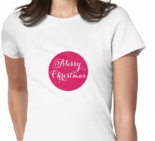 Merry Christmas, pink dot Womens Fitted T-Shirt