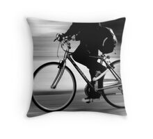 Cycling in the quarry Throw Pillow