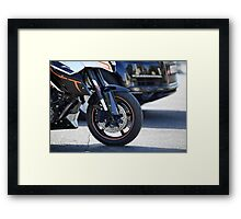 motorcycle in motion  Framed Print