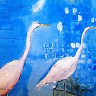 Abstract grey herons in the Blue by Susan Wellington