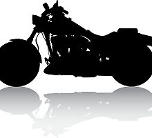Cruiser Motorcycle Silhouette with Shadow by SandpiperDesign