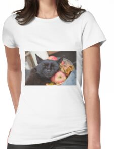 black cat on old barrel Womens Fitted T-Shirt