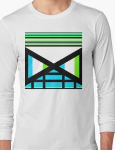 Dagaz Day Contemporary Norse Rune Art Blue White Black Green Long Sleeve T-Shirt