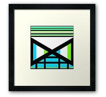 Dagaz Day Contemporary Norse Rune Art Blue White Black Green Framed Print